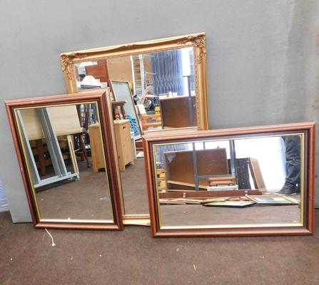 Bevel edge mirror in ornate frame + 2 framed mirrors