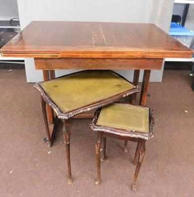 Vintage oak extending dining table & 2 occasional tables
