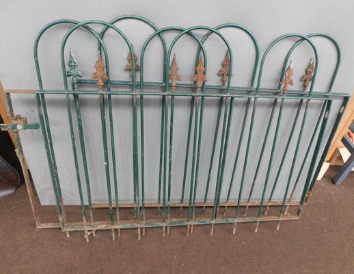 3 x metal garden fence panels - one with latch, all 36 inches tall, 2 at 44 inches wide & 1 at 33 inches wide
