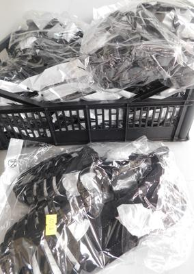 10 Pairs of black plastic sandals-various sizes