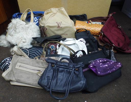 Box of mixed handbags inc vintage styles etc