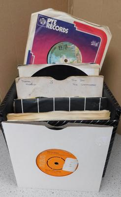 Box of singles in case incl; Bowie, Carole King (approx 55 singles)