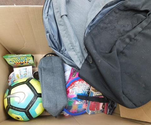 Box of mixed inc football & backpack