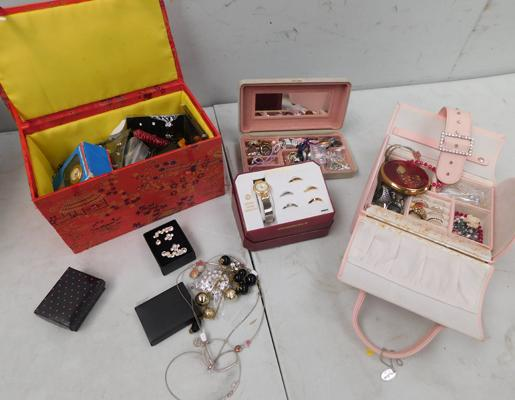 2x Boxes of costume jewellery + watch in box with interchangeable bezels