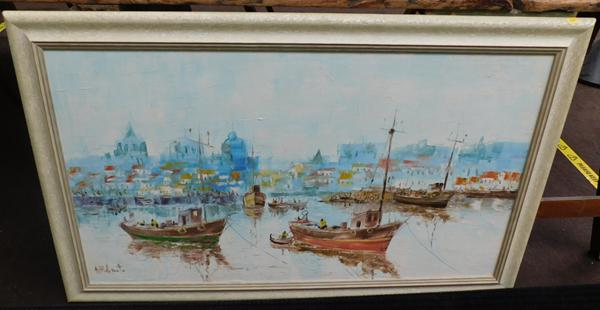 Large oil on board, signed by artist approx 43x28""