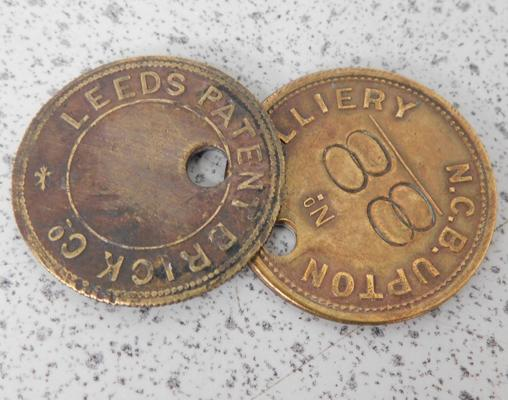 2x Pit chock tags c1940s, Leeds Brick Co & NCB Upton College