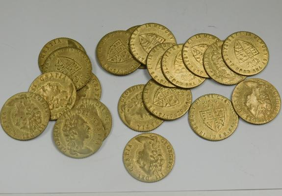 20 x Victorian brass gaming tokens with George III head