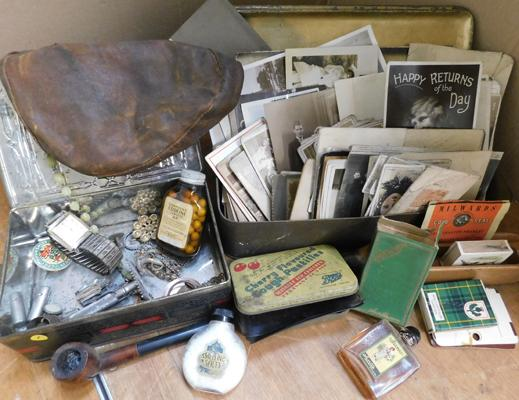 Assortment of vintage/antique items inc postcards, smelling salts etc