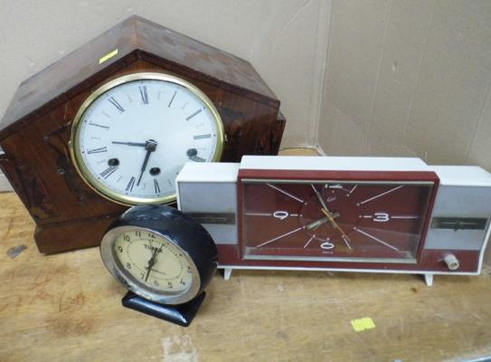 3x Vintage clocks inc Timex