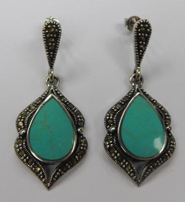 Pair of silver, turquoise & marcasite earrings