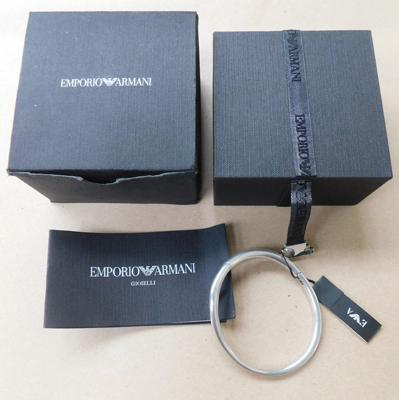 Heavy boxed Emporio Armani sterling silver CZ bangle approx 43.6g