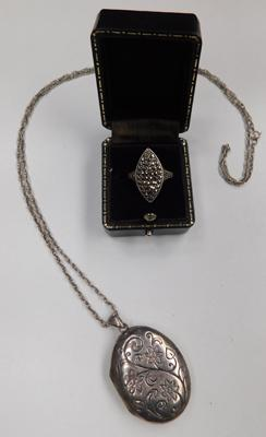 Sterling silver locket & chain with love poem engraved on reverse & vintage silver 925 & marcasite boat ring