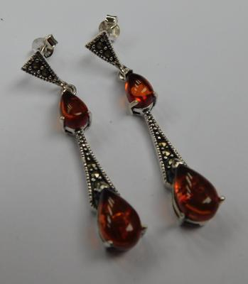Pair of silver amber & marcasite earrings