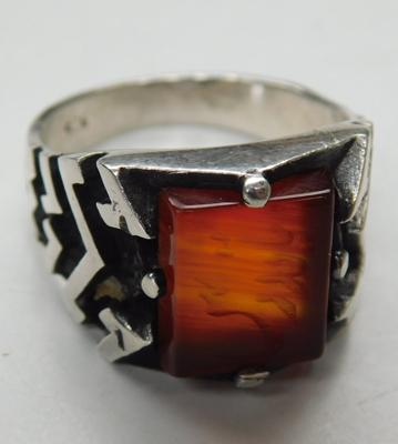 Unusual sterling silver carved Carnelian Arabic wax seal ring