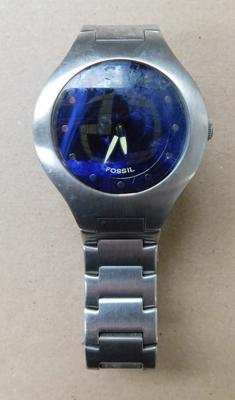 Gents Fossil wristwatch blue dial + Fossil stainless steel strap w/o
