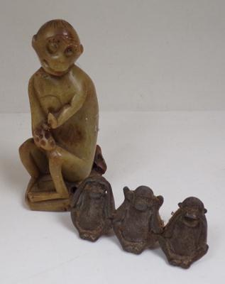 Antique carved soapstone monkey figure with brass/bronze three wise monkeys