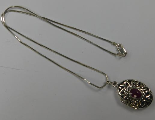 Celtic silver locket on silver chain