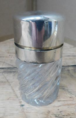 Antique silver sterling twist glass Sampson & Mordan scent bottle (stopper missing)
