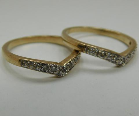 Pair of 9ct gold & diamond wishbone rings size I