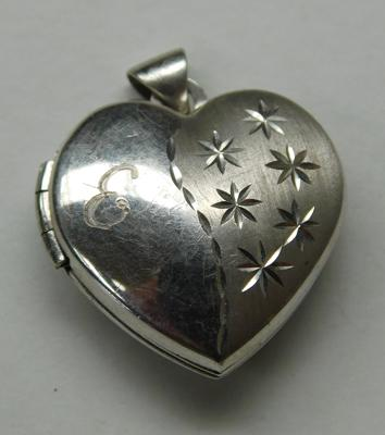 Sterling silver love heart locket pendant engraved - Emily on back