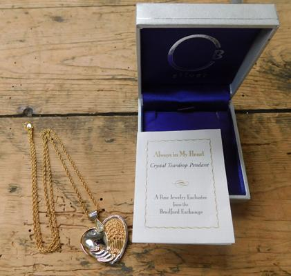 925 Silver 24ct plate Swarovski crystal Always in my heart necklace, boxed & cert