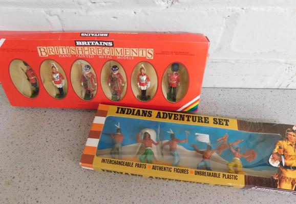 Britains boxed British Regiments set (No. 7226) + early boxed Indians Adventure set