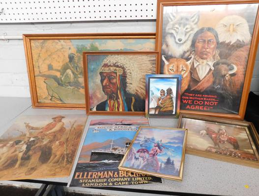 Assortment of American Indian paintings + prints, Tin advert etc...
