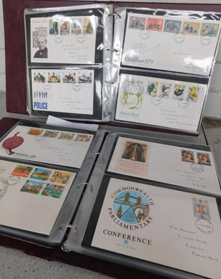 2 x full albums of first day covers, Feb. 1975-83, Jan. 1984-89 + others