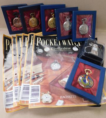 6 x pocket watches + miniature & magazines