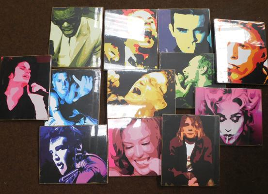 Full set of 12 Pop Art paintings on board, approx. 10 x 12 inches - in packaging