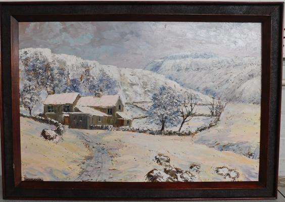 Framed oil by local artist, Gordon Clark - Inglebough in Winter, approx. 34 x 24 inches