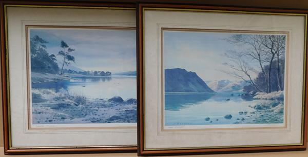 2 x limited edition signed J. Beddony prints - Coniston water & Ullswater