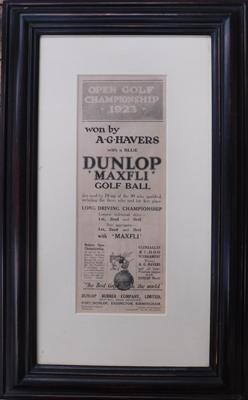 Original Open Golf Championship 1923, framed advert for Dunlop Maxfli golf balls