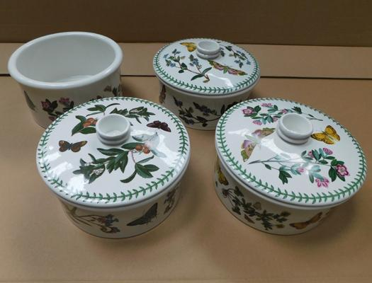 4x Portmeirion botanic gardens tureens (3 with lids)