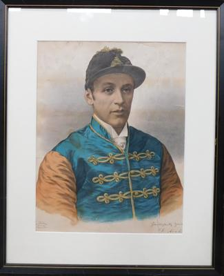 Illustrated & Dramatic Sporting News picture, signed by Royal jockey  Fred Archer
