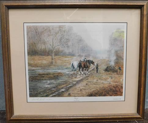 Framed Limited Edition picture Logging by Kennett Ansell, signed 105/850 (approx. 23 x 20 inches incl. frame)