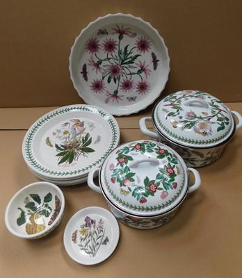 Selection of Portmeirion botanic gardens large flan dish, dinner plates, enamel pans etc