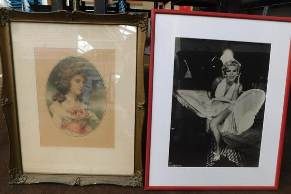 Two prints, one of Marilyn Monroe