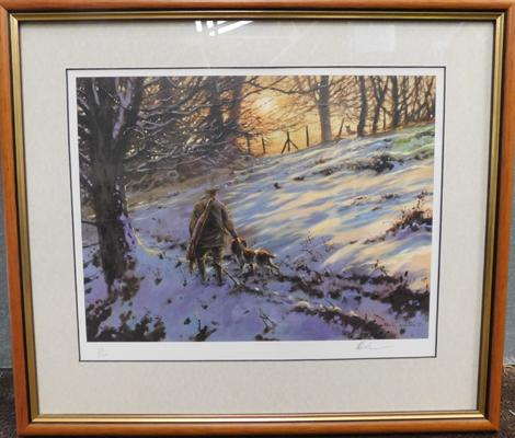 Framed hunting scene, signed Mick Causton 22/500 (20 inches x 17 inches, incl. frame)