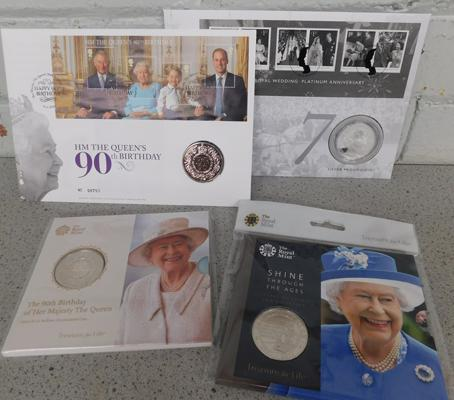 4 x Royal Mint Commemorative Queen Elizabeth II coin & stamp sets