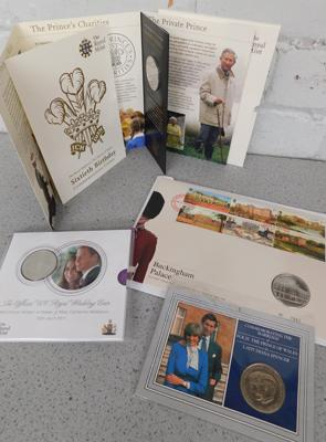 5 x Royal Mint Commemorative coin sets +  Buckingham Palace stamp & coin set (Charles, William, Harry)