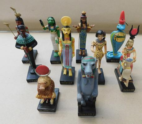 Collection of resin Egyptian figures