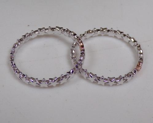 2 x sterling silver diamond band rings - new