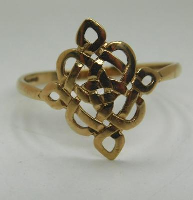 9ct Gold Celtic weave ring size T