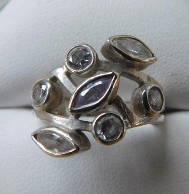 Large 925 sterling silver ladies CZ ring size Q