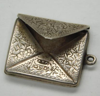 Edwardian silver novelty envelope shape stamp case, Fob. - Chester 1912