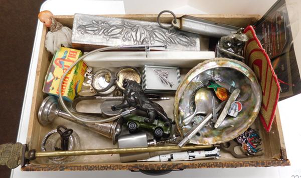 Box of collectables inc silver, tin plate toy, art nouveau, pewter lidded box, stamps etc