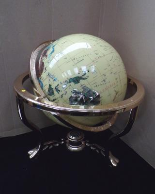 Large gemstone globe, approx. 13 inches, no damage