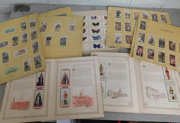Quantity of old cigarette cards in albums etc