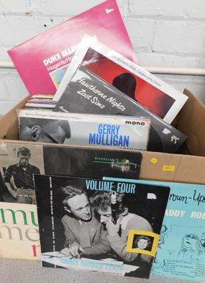 Box of jazz LPs inc Jimmy Smith, Clifford Brown etc approx 60